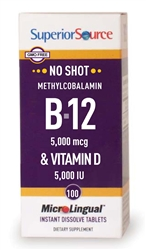 No Shot Methylcobalamin B-12 5,000 mcg & Vitamin D3 5,000 IU